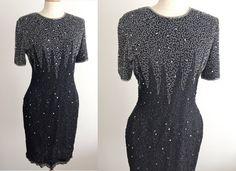 60's Lawrence Kazar Black Silk Sequin Beaded by ElkHugsVintage, $38.00