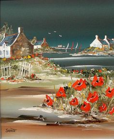 Serot ~ Breton Marines ~ House with Poppies - landscape Seascape Paintings, Landscape Paintings, Sailboat Art, Ocean Colors, Beach Art, Painting Inspiration, Watercolor Art, Poppies, Abstract Art