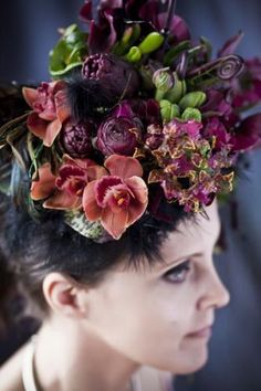 Burgundy floral headpiece by  FrancoiseWeeks.com   photo: Ted Mishima   # Pinterest++ for iPad #