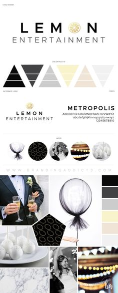 Modern. Luxury Brand. Lemon. Yellow. Gold. Wedding. Special Event. Planner. Photographer. Married. Clean. Bright. Light. Airy. Classic. Black and White. Professional Business Branding by Designer Laine Napoli. Web Design, Logo, Mood Board, Brand Boards, and more.