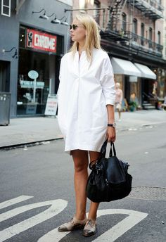 What to Wear to Work Tomorrow: A White Shirtdress and Two-Tone Brogues -- Keep your office outfit simple with a white shirt dress
