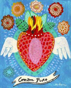 Corazon Puro Fine Art Print painting heart mexican by BohoGarden Illustrations, Illustration Art, Art Couple, Mexican Paintings, Frida Art, Guache, Mexican Folk Art, Heart Art, Pop Art