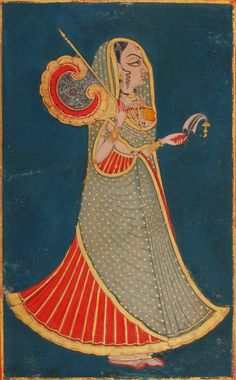 Indian Miniature Painting : Jodhpur princess with fan and royal pankha and sarpech circa Opaque watercolour with gold on wasli. Pichwai Paintings, Mughal Paintings, Indian Art Paintings, Abstract Paintings, Rajasthani Painting, Rajasthani Art, Art Indien, Mughal Miniature Paintings, Indian Traditional Paintings