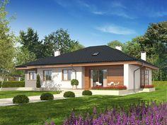 Projekt domu Franczi II (wersja A) economic Single Storey House Plans, Dream House Plans, Design Case, Home Fashion, Bungalow, Gazebo, Garage Doors, Sweet Home, Villa