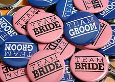 TEAM BRIDE TEAM GROOM Pink Blue Wedding Buttons Pinbacks Badges - 50 Pack