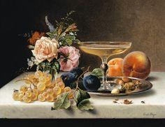 Bild: Emilie Preyer - Früchtestilleben mit Blumen und Sektschale