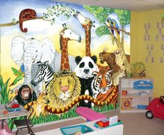 animal mural for kids bedroom and kinder care centers