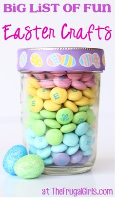 This m&m jar would be a good teacher gift! BIG List of Fun Easter Crafts! ~ from ~ get inspired with loads of easy Easter Crafts, Easter Egg Projects and more! Easy Easter Crafts, Easy Christmas Crafts, Easter Ideas, Easy Crafts, Creative Crafts, Decor Crafts, Christmas Gifts, Hoppy Easter, Easter Eggs