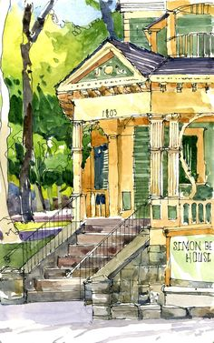 I love finding out interesting tidbits about something I'm sketching. The Simon Benson House, built around 1900, was originally situated on 11th and Clay but in 2000 it was restored and moved…