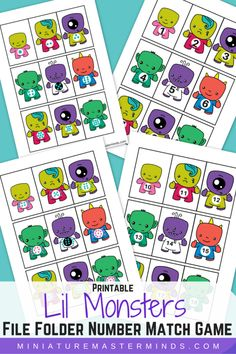 Printable Lil Monsters File Folder Number Match Game - free printable for number recognition and counting