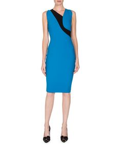 ROLAND MOURET SLEEVELESS ASYMMETRIC-NECK COLORBLOCK DRESS, TRUE BLUE. #rolandmouret #cloth #