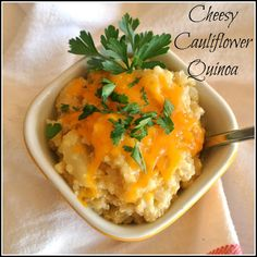 Cheesy Cauliflower Quinoa | protein & fiber-rich | great as side dish or vegetarian main dish. To decrease calories: use low-fat sharp cheddar cheese (very flavorful) and use less (1/2 cup or so).