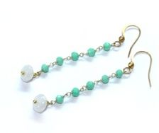 Earrings Gold Turquoise White - by Petra Reijrink