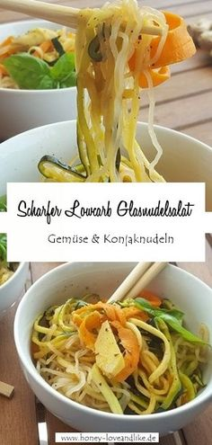 Low carb glass noodle salad - Today I show you my spicy low carb glass noodle salad with lots of vegetables and noodles from the - Instant Pot Potato Recipe, Easy Potato Recipes, Easy Dinner Recipes, Easy Summer Meals, Quick Easy Meals, Low Carb Vegetarian Recipes, Low Carb Recipes, Coconut Sweet Recipes, Glass Noodle Salad
