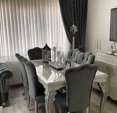 Purple Living Room Furniture, Grey Furniture, Living Room Grey, Upholstered Furniture, Home Living Room, Living Room Decor, Dining Room Table Decor, Dining Room Design, Decoration
