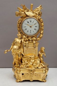 c Table clock, Allegory of the arts Felipe Santiago and Pedro Charost, around Mantel Clocks, Old Clocks, Antique Clocks, Antique Silver, Art Nouveau, Carlos Iii, Art Decor, Decoration, French Clock