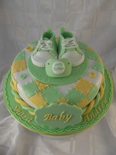 So cute~baby shower cake. I love the colors and the quilt like pattern .