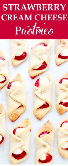 Strawberry Cream Cheese Pastries | www,diethood.com | Soft, flaky and delicious cream cheese pastries filled with a sweet cream cheese mixture and strawberry jam. Very easy to make!