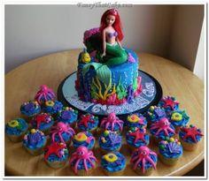 Little Mermaid Birthday Cake and Cupcakes