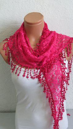 Lace Scarf Pink Turkish Fabric Fringed Guipure by WomanStyleShop scarves women,  #scarves and shawls -  #scarves scarves,  #women scarves