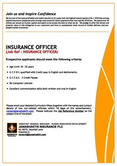 Pin By MyjobsLk On Jobs At Janashakthi Insurance