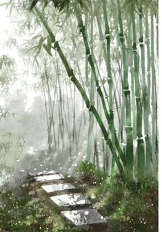 Fantasy Landscape, Landscape Art, Landscape Paintings, Fantasy Art, Watercolor Landscape, Watercolor Art, Watercolor Japan, Bamboo Art, Bamboo Drawing