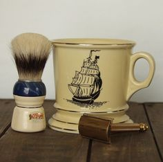 Vintage Shaving Mug with Sailing Ship. We would always get Dad Old Spice for Christmas. I have the brush & cup. My grandpa loved it too! Nostalgia, Shaved Hair Cuts, Wet Shaving, Shaving Brush, Simple Line Drawings, Art Of Manliness, Old Spice, Clip Art, My Childhood Memories