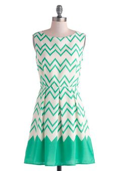 Interviews At The Party Dress - Mid-length, Cream, Green, Chevron, Pleats, Party, A-line, Sleeveless, Summer