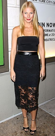 Mom's night out! Gwyneth Paltrow shined at the play's debut in a black crop top paired with a leather-trimmed lace skirt