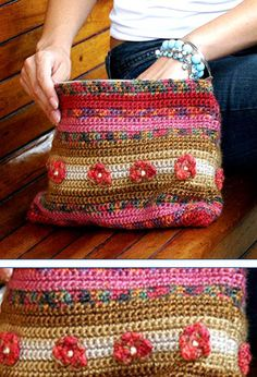 Gorgeous bag! With chart on how to make flowers on a treble stitch.