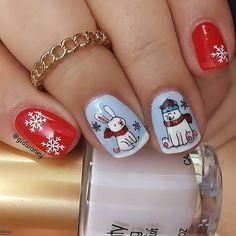 "caroline gidwaney 💋 en Instagram: ""My #artic #animals mani 🐇🐧 for. @amigasdelesmalte #amigasdelesmaltereto37 This mani is also for @nailswithigfriends #winteranimals…"" Xmas Nails, Artic Animals, Nail Art, Beauty, Instagram, Christmas Manicure, Christmas Nails, Nail Arts, Santa Hat Nails"