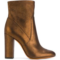 Santoni metallic heeled boots ($697) ❤ liked on Polyvore featuring shoes, boots, brown, brown shoes, real leather shoes, heeled boots, leather shoes and leather heel boots