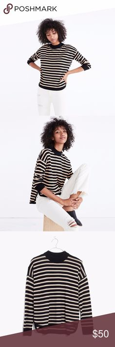 NWT Madewell Mockneck Boxy Sweater in Stripe Small The mockneck boxy sweater in true black stripes. NWT. 100% Merino wool.  Size small. True to size. High-low hem, mockneck. Madewell Sweaters