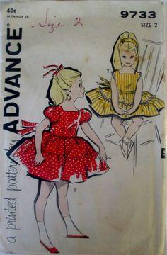 Advance 9733 Girls 60s Dress Sewing Pattern Breast by Denisecraft, $8.99
