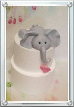 Edible Fondant Elephant Cake Topper PERFECT for a Baby Shower or a Birthday for boys and girls Elephant Birthday Cakes, Elephant Baby Shower Cake, Elephant Cake Toppers, Elephant Cakes, Baby Shower Cakes, Fondant Figures, Girl Cakes, Gum Paste, Cake Decorating