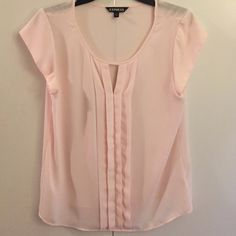 Express top Baby pink top ruffle down the front open v cut Express Tops