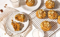 myfitnesspal recipes These muffins can be a real treat in moderation. Myfitnesspal Recipes, Sweet Potato Muffins, Under 300 Calories, Food Log, Breakfast Cookies, Vegan Breakfast, Breakfast Meals, Breakfast Bites, Recipes