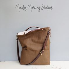 Modern Cocoa Tote Bag Brown Convertible by MondayMorningStudios