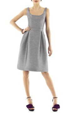 Alfred Sung Scoop Neck Dupioni Fit & Flare Dress available at #Nordstrom