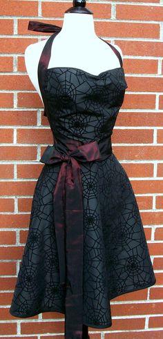 Womens Halloween Apron - Black Spiderweb Cut Velvet Taffeta by DrapesofWrath on etsy. This is so Sammi! Gothic Outfits, Gothic Dress, Halloween Apron, Dress Skirt, Dress Up, Prom Dress, Estilo Pin Up, Trends, Up Girl