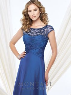 Montage by Mon Cheri - 215908 - Two-tone chiffon A-line gown with hand-beaded illusion cap sleeves and bateau neckline, crisscross ruched semi-sweetheart bodice, beaded illusion keyhole back, sweep train. Matching shawl included.Sizes: 4 - 20, 16W - 26WColors: Royal Blue, Bright Purple, Gunmetal