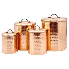 Keep your kitchen supplies fresh by storing them in this beautiful hammered copper canister set. This four-piece set gives you plenty of storage for your baking needs, or store often used pantry items
