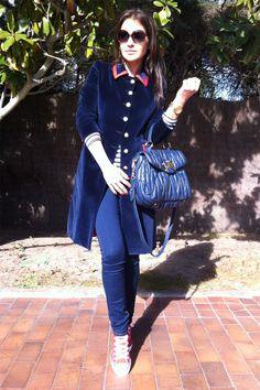 Paula Echeverría wears blue velvet coat by El Ganso