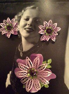 Vintage 1950s 1960s Demi Parure Purple Flower Brooch Matching Flower Clip On Earrings by GoodGoodyGirlsJewels on Etsy