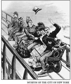 America's first roller coaster, The Switchback Railway, originally had the car's seating parallel to the track when it was first built in 1884, Coney Island, New York.