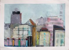 22 x 30 on paper.  Part of my cityscape series.  Please visit www.lorrakurtz.com to signup for my art inspired newsletter.