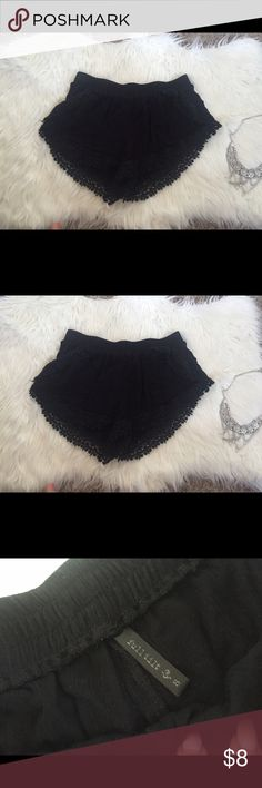 Black crochet shorts In great condition! Feel free to ask questions, final price. Thanks for looking Full Tilt Shorts