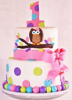 """1st Birthday Owl Pink Pastel Tier White or Chocolate Single, 2 or 3 Tier 8"""" or 10"""
