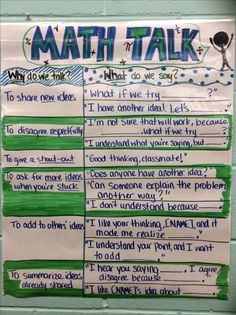 Math Talk poster (image only) Math Strategies, Math Resources, Fifth Grade Math, Fourth Grade, Second Grade, Math Coach, Math Talk, Math Anchor Charts, Math Classroom