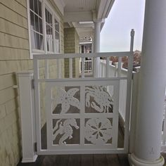 Custom Exterior PVC Vinyl Shutters w/ Nautical Cutouts, Decorative Exterior PVC House Trim, Nautical Vinyl Porch Railing Panels & Gates. Porch Trim, Porch Gate, Front Porch, Vinyl Screen Doors, Exterior Vinyl Shutters, Seashore Decor, Unique Cottages, Caribbean Homes, Pvc Panels